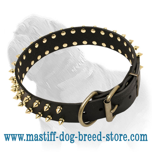 2 Rows Spiked Leather Mastiff Dog Collar