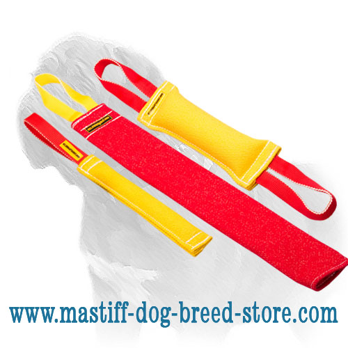 Mastiff Training Set of French Linen Bite Tugs with FREE Rubber Ball