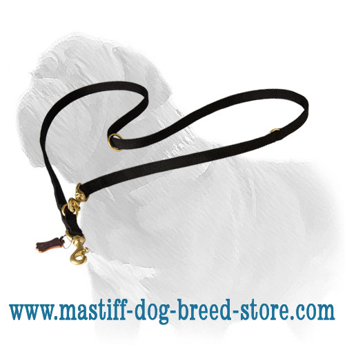 Long Mastiff lead of quality nylon with O-rings and 2 snap hooks