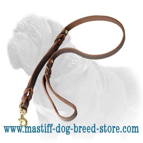 5 Ft long Mastiff lead of quality leather with brass snap hook