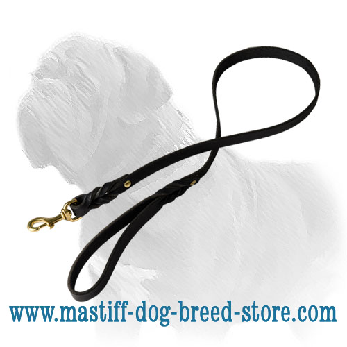 Mastiff dog lead for walks and training with riveted handle