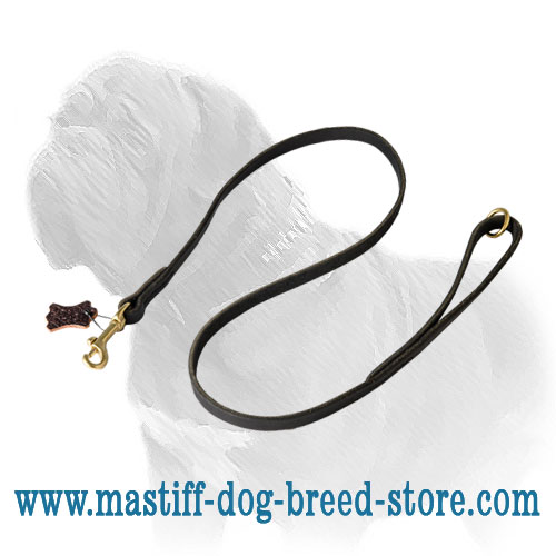 Full grain leather Mastiff dog leash with strong stitching