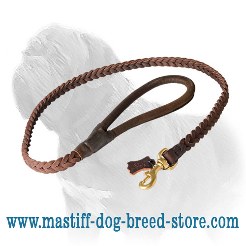 Full grain leather Dog leash for Mastiffs with smooth handle