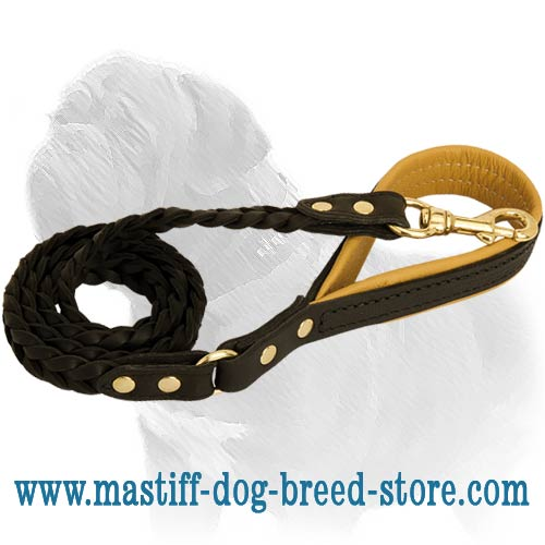 Easy to operate leather Mastiff leash