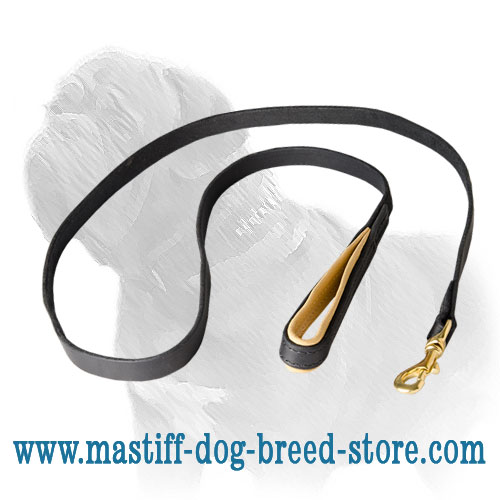 Dog leash for Mastiffs stitched with nylon threads