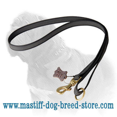 Nylon Mastiff leash with brass fittings and rubber lines for useful grip