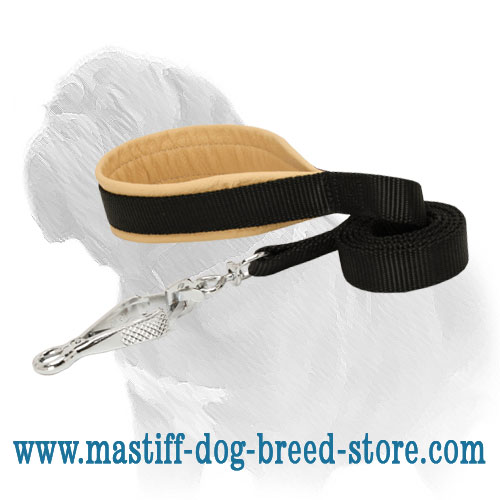 Nylon Mastiff dog leash, soft & comfy handle