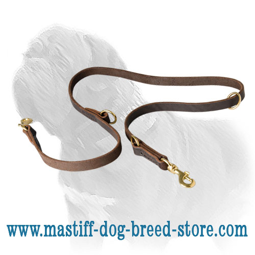 Dog leash for mastiff breed, wax smooth edges leather