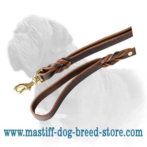 Mastiff leather braided lead with brass corrosion resistant snap hook
