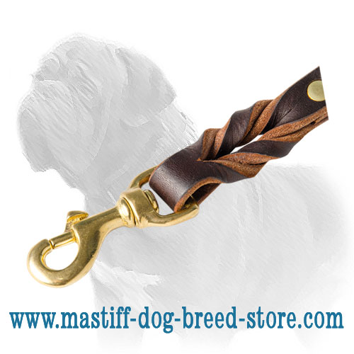 Short leather braided lead with brass gold-like snap hook