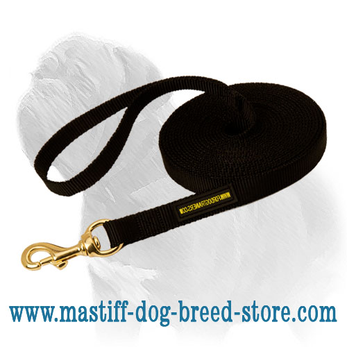 Tracking nylon lead for Mastiff breed with brass snap hook