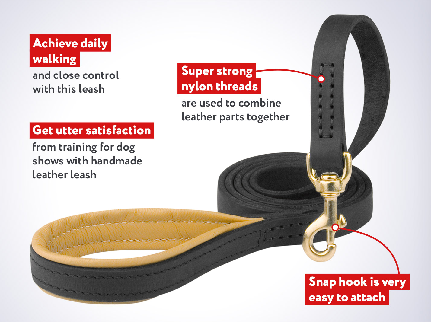 Strong Support Mastiff Dog Leash with Soft Handle