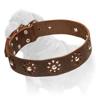 'Elegant Flower' Mastiff Leather Dog Collar