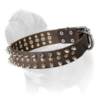 Way-out Mastiff Dog Collar with Spikes and Brass Half-Ball Studs