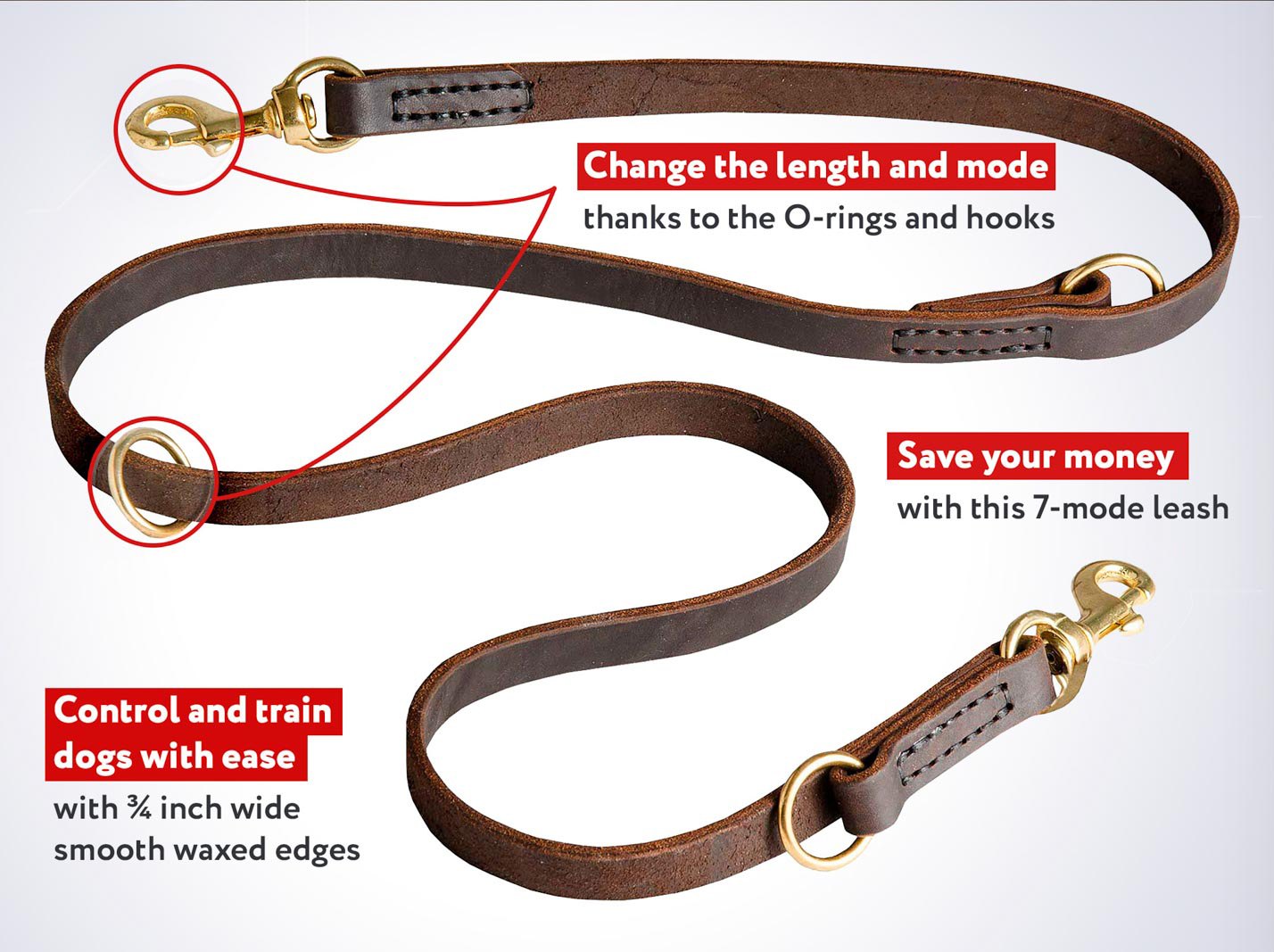 Superb Quality Leather Mastiff Dog Leash with 2 Snap Hooks