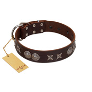 """Antique Style"" Designer Handmade FDT Artisan Brown Leather Mastiff Collar"