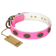 """Forever Fashion"" FDT Artisan Leather Mastiff Collar with Old Look Plates - 1 1/2 inch (40 mm) wide"