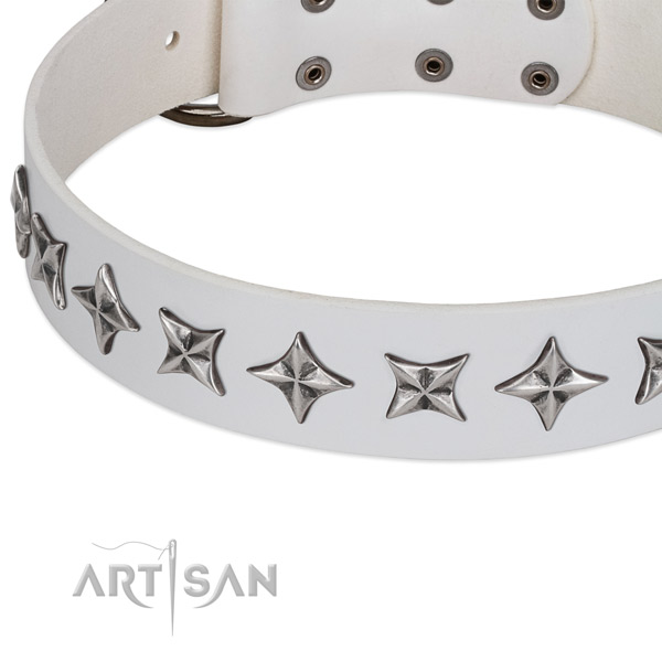 Comfortable wearing embellished dog collar of durable genuine leather