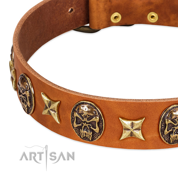 Rust resistant D-ring on full grain genuine leather dog collar for your doggie