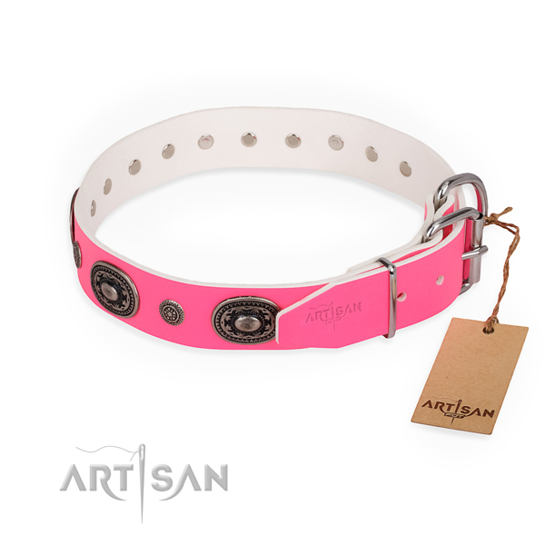 Comfortable wearing top quality dog collar with rust resistant hardware