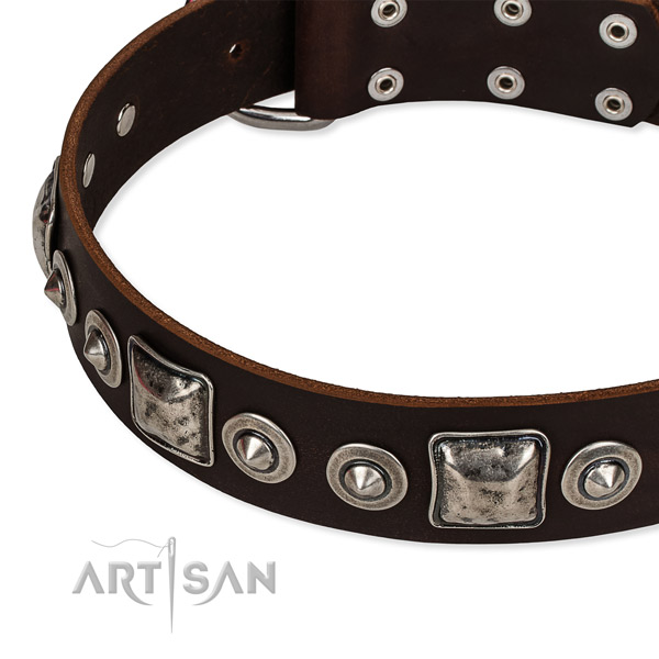 Top notch natural genuine leather dog collar handmade for your stylish four-legged friend