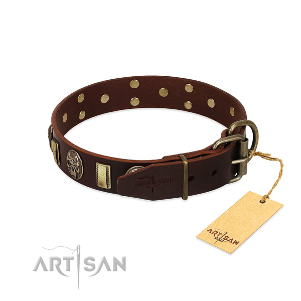 Leather dog collar with rust resistant fittings and studs