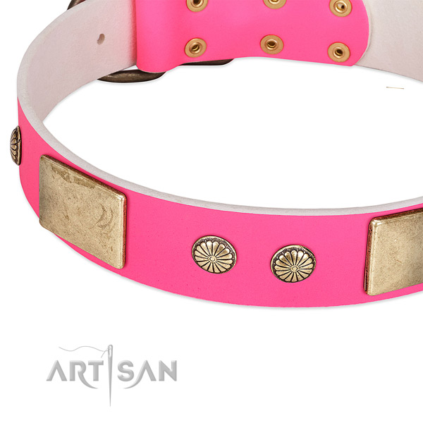 Durable D-ring on full grain leather dog collar for your pet