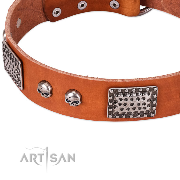 Corrosion resistant D-ring on natural genuine leather dog collar for your four-legged friend