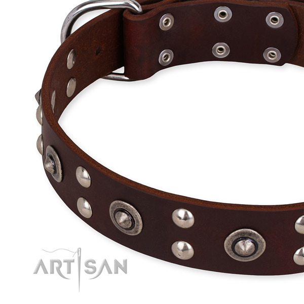 Full grain genuine leather collar with rust-proof buckle for your impressive doggie