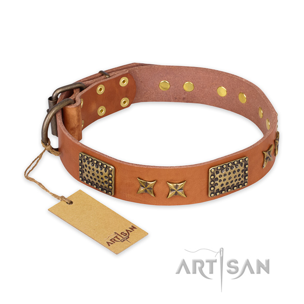 Handcrafted natural genuine leather dog collar with durable hardware