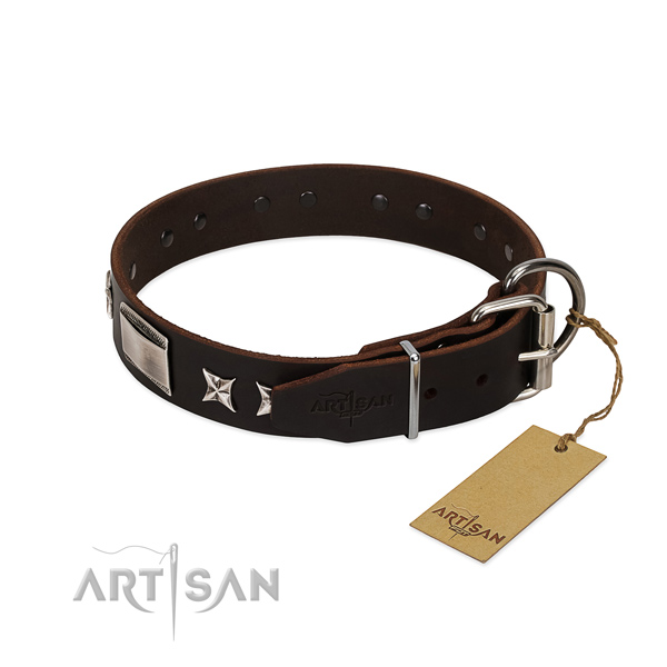 Easy to adjust collar of full grain leather for your attractive four-legged friend
