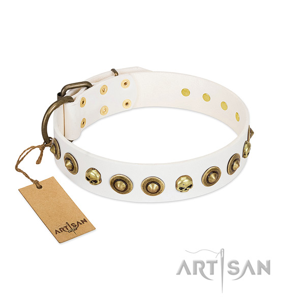 Full grain natural leather collar with unusual embellishments for your canine