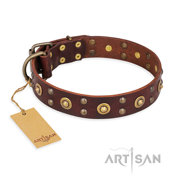 Easy adjustable leather dog collar with corrosion proof D-ring