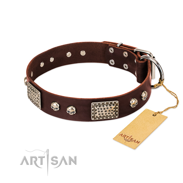 Adjustable leather dog collar for basic training your canine