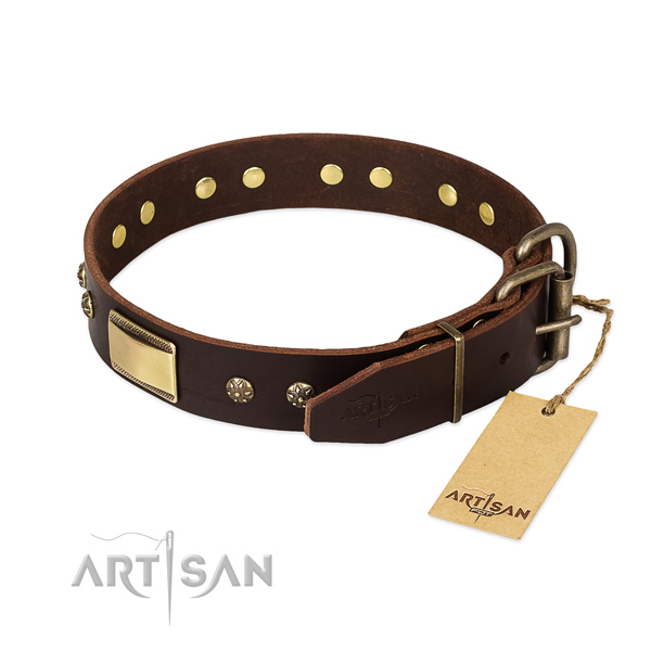 Stylish design full grain genuine leather collar for your canine