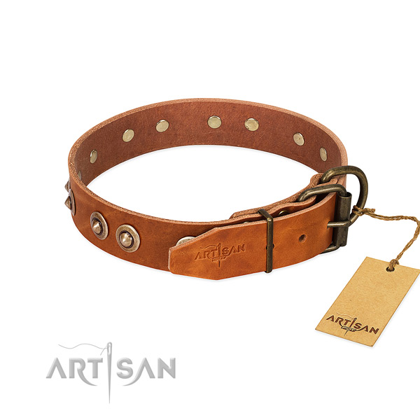 Rust-proof hardware on full grain genuine leather dog collar for your pet