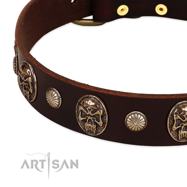 Natural genuine leather dog collar with decorations for daily walking