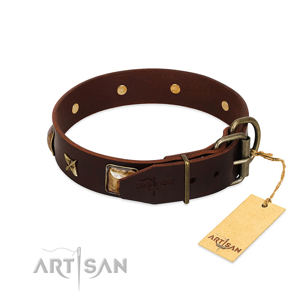 Leather dog collar with corrosion resistant fittings and adornments