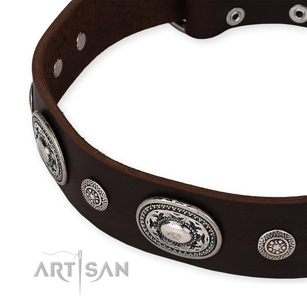 Gentle to touch genuine leather dog collar handmade for your lovely pet
