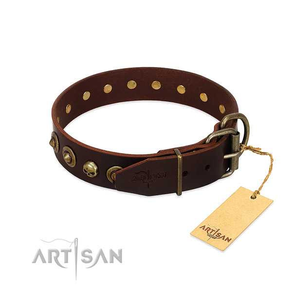 Natural leather collar with designer studs for your doggie