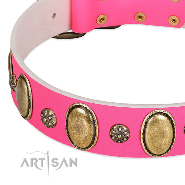 Stylish walking high quality full grain genuine leather dog collar with decorations