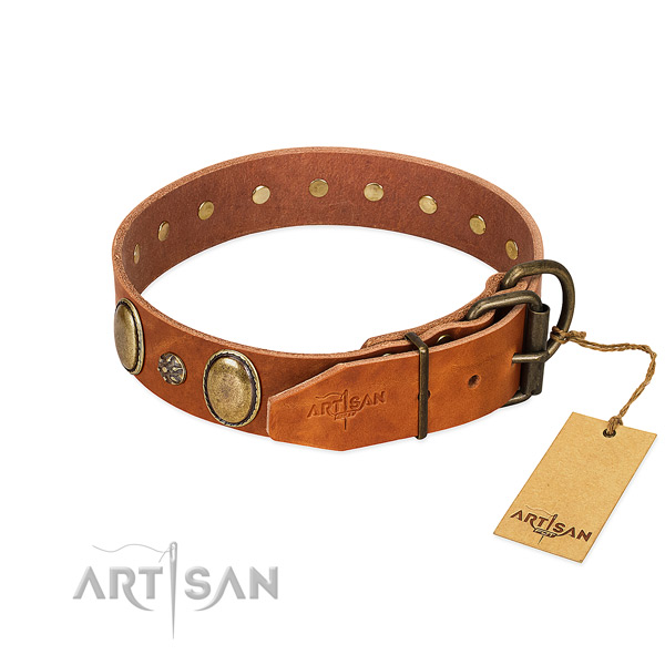 Handy use top rate full grain genuine leather dog collar