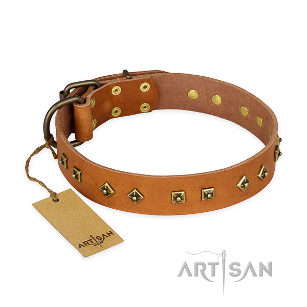Easy adjustable genuine leather dog collar with corrosion proof D-ring