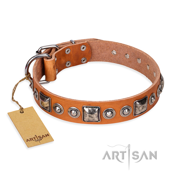 Full grain natural leather dog collar made of flexible material with corrosion resistant D-ring