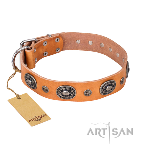 Top notch natural genuine leather collar handcrafted for your pet