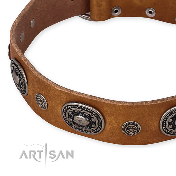 Strong full grain natural leather dog collar made for your stylish pet