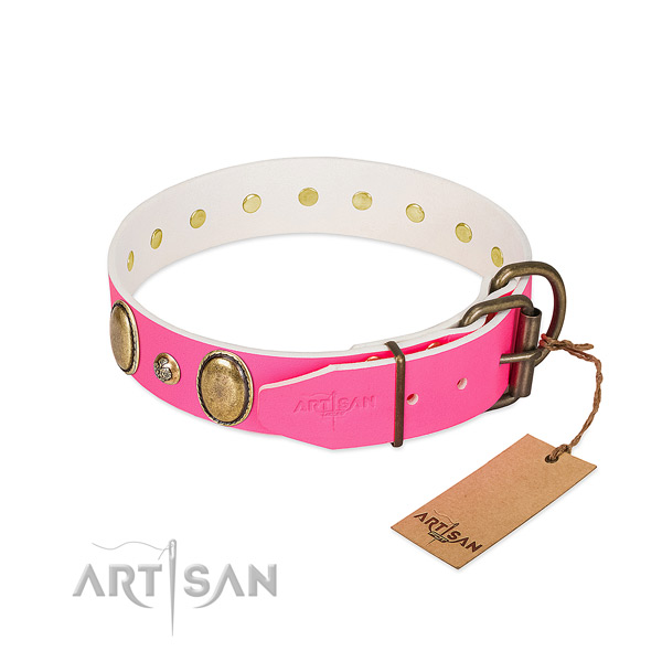 Easy wearing quality leather dog collar