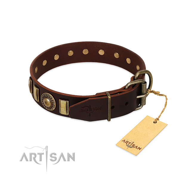 Quality full grain leather dog collar with decorations