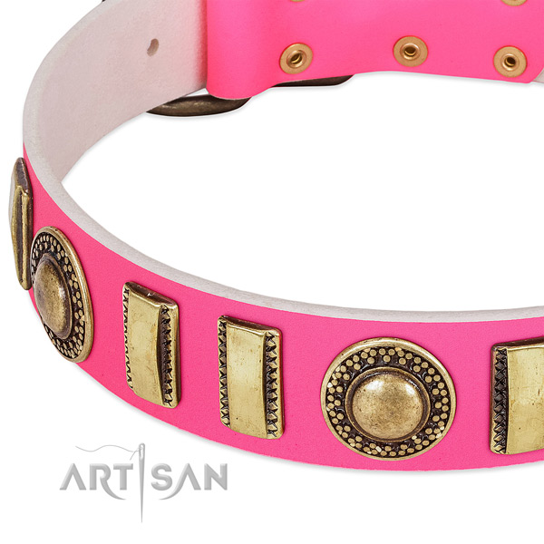 Soft to touch leather dog collar for your beautiful canine