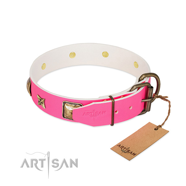 Rust resistant D-ring on natural genuine leather collar for basic training your canine